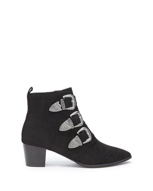 Forever 21 - Black Faux Suede Buckle Ankle Booties - Lyst
