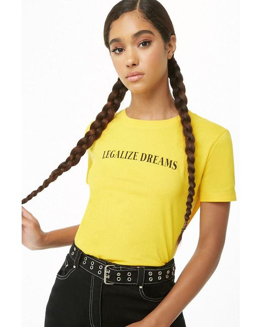 Forever 21 - Yellow Legalize Dreams Graphic Tee - Lyst