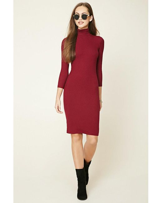 Forever 21 | Red Turtleneck Midi Dress | Lyst