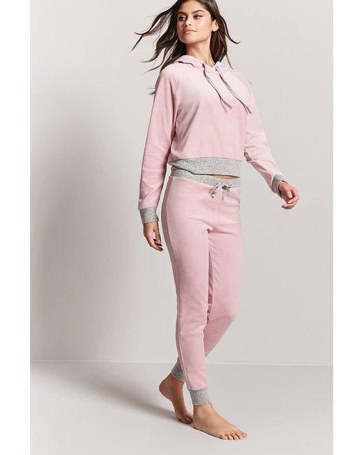 Forever 21   Pink Contrast Velour Pj Pants   Lyst