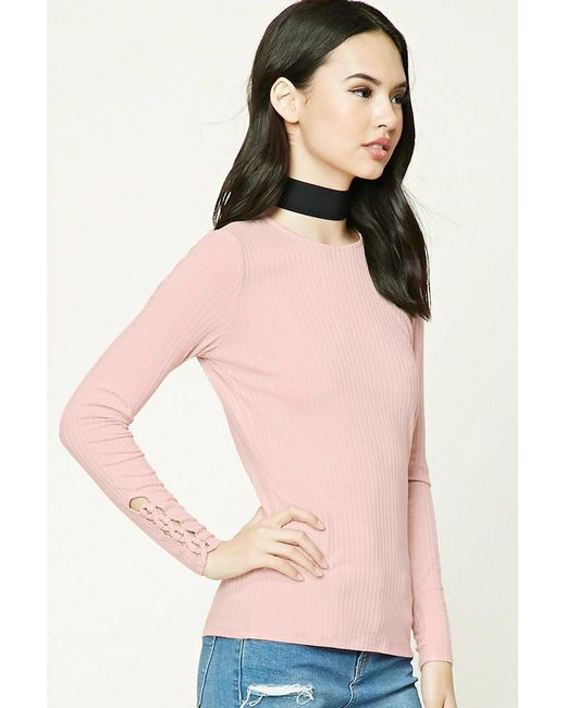 Lyst Forever 21 Ribbed Knit Top In Pink