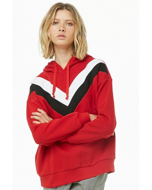 Forever 21 - Red Fleece Chevron Hoodie - Lyst