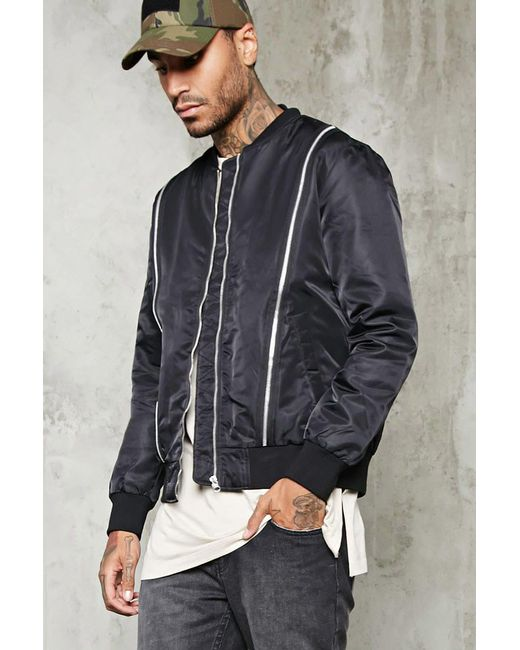 Forever 21 | Black Contrast Zippered Bomber Jacket for Men | Lyst