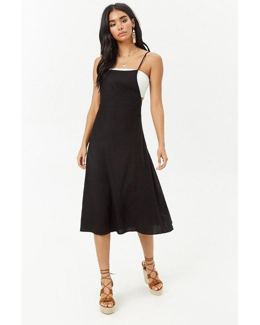 Forever 21 - Black Pinafore Midi Dress - Lyst