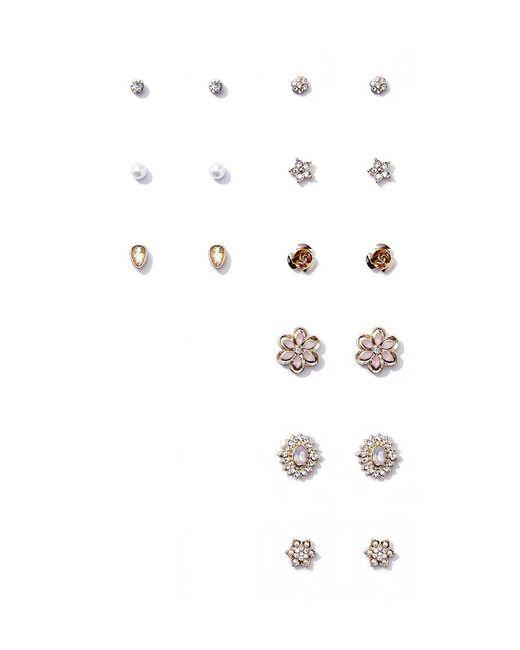 Forever 21   Metallic Rhinestone Floral Stud Earring Set   Lyst