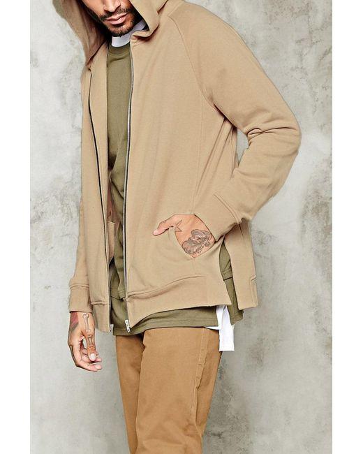 Forever 21   Natural Side-slit Zippered Hoodie for Men   Lyst