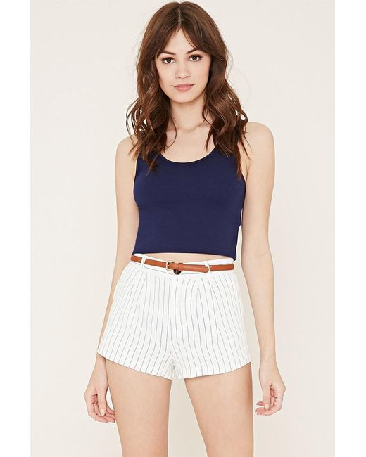 Forever 21 | Blue Pleated Pinstripe Shorts | Lyst