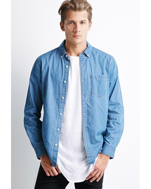 Forever 21   Blue Button-collar Chambray Shirt for Men   Lyst