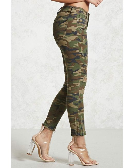 Cool Forever 21 Distressed Camo Trousers In Green - Save 31% | Lyst