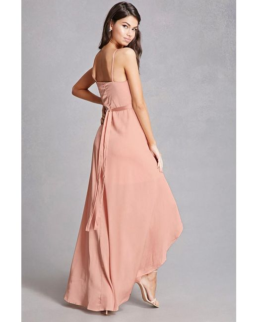 Forever 21 Satin Surplice Maxi Dress In Pink Lyst