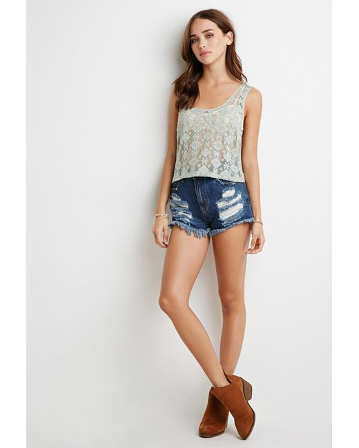 Forever 21 | Green Embroidered Mesh Top | Lyst