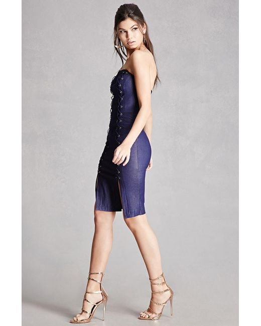 Forever 21 Lace-up Denim Bodycon Dress in Blue | Lyst - photo #44