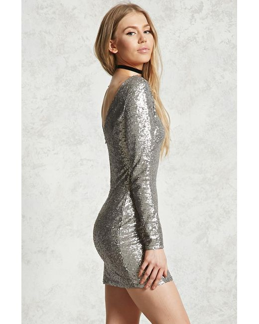 Forever 21 Sequin Mini Bodycon Dress in Gray | Lyst - photo #28