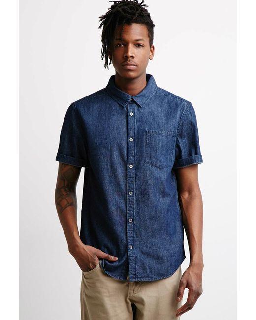 Forever 21   Blue Classic Denim Shirt for Men   Lyst