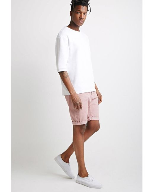 Forever 21   Pink Clean Wash Cuffed Denim Shorts for Men   Lyst