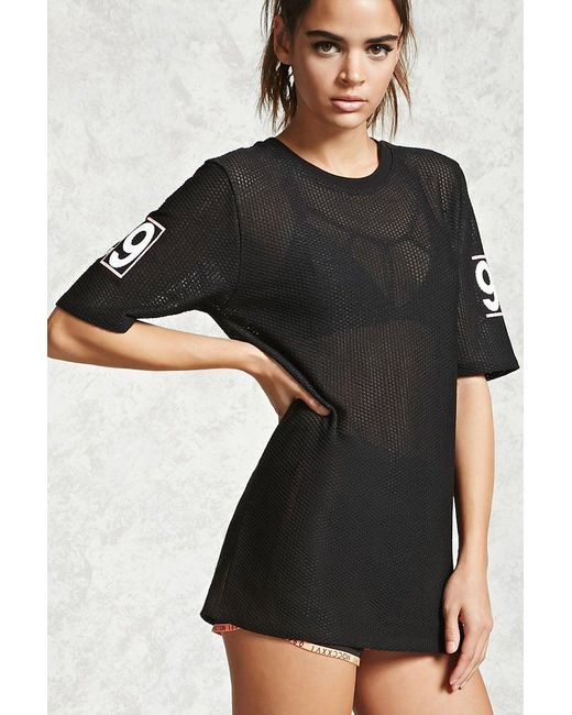 Forever 21   Black Active Perforated Graphic Top   Lyst