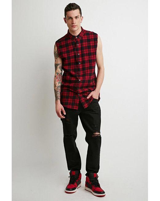 Forever 21 | Black Destroyed Straight-leg Jeans for Men | Lyst