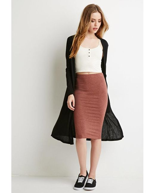 Forever 21   Brown Stretch Knit Pencil Skirt   Lyst