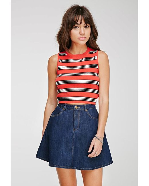Forever 21 | Red Ribbed Stripe Crop Top | Lyst
