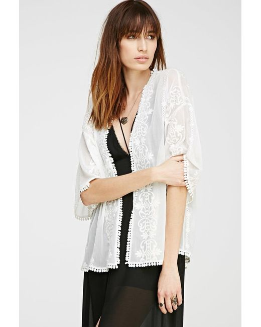 Forever 21 | Natural Embroidered Sheer Kimono | Lyst