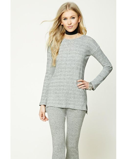 Forever 21 | Gray Marled-knit Ribbed Top | Lyst