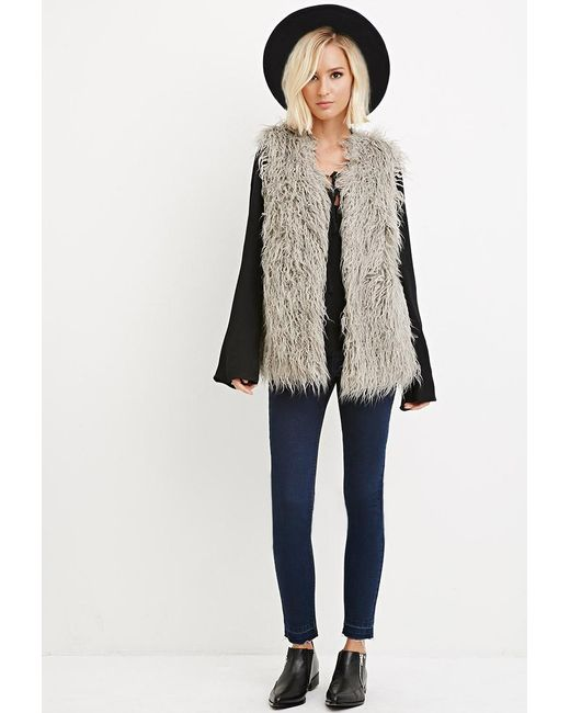 Forever 21   Gray Contemporary Faux Shearling Vest   Lyst