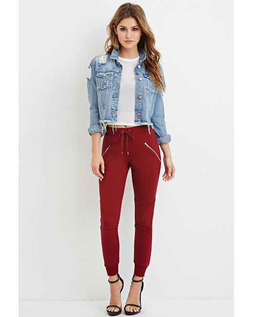 Forever 21 | Zippered Moto Joggers | Lyst