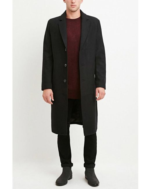 Forever 21 | Black Wool-blend Longline Coat for Men | Lyst
