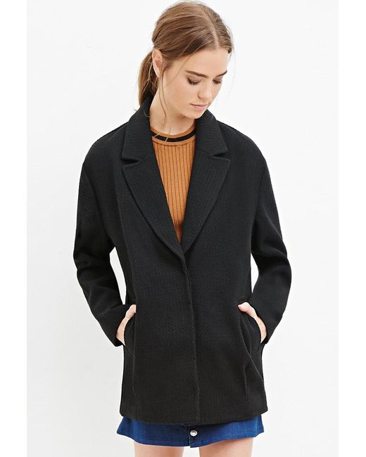 Forever 21 | Black Textured Boxy Coat | Lyst