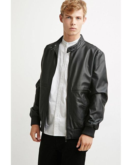 Forever 21 | Black Faux Leather Snap-collar Jacket for Men | Lyst
