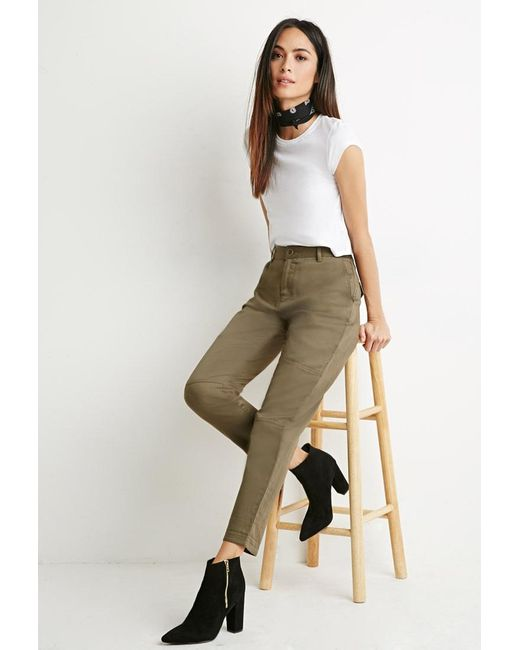 Forever 21 | Green Contemporary Tonal Topstitch Utility Pants | Lyst