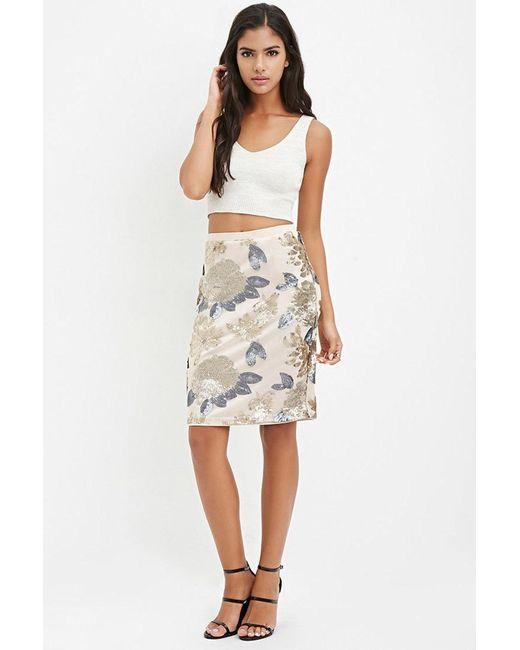 Forever 21 | Metallic Sequined Pencil Skirt | Lyst
