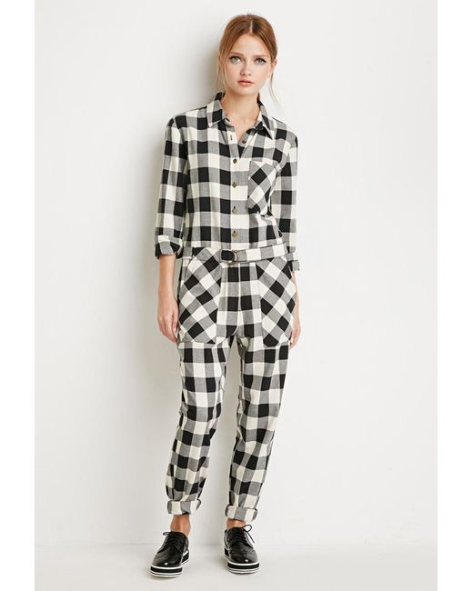Forever 21 | Black Buffalo Plaid Jumpsuit | Lyst