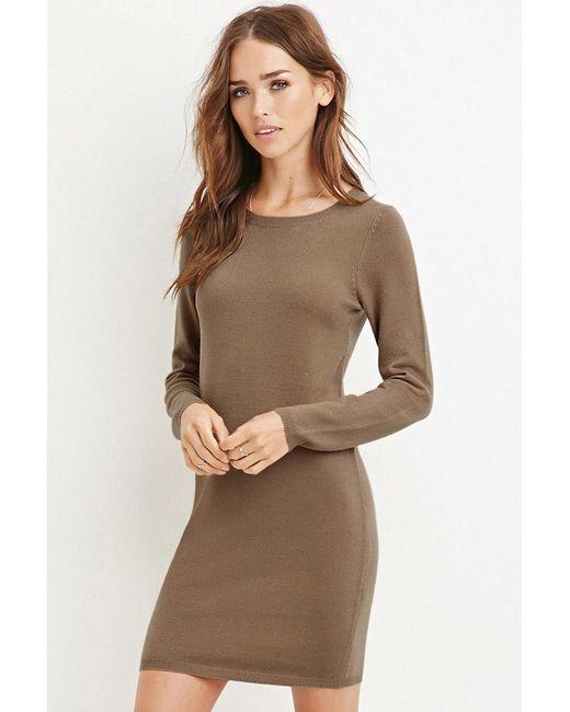 Forever 21   Natural Knit Jumper Dress   Lyst