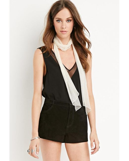Forever 21 | Black Genuine Suede Shorts | Lyst