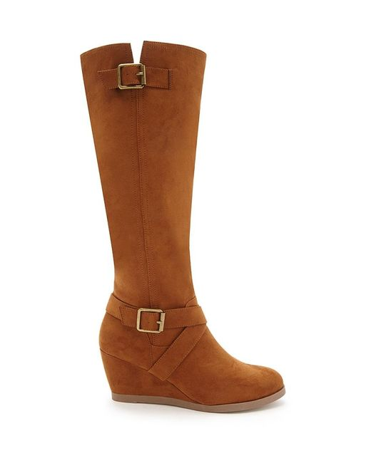 Forever 21   Brown Knee-high Faux Suede Boots   Lyst
