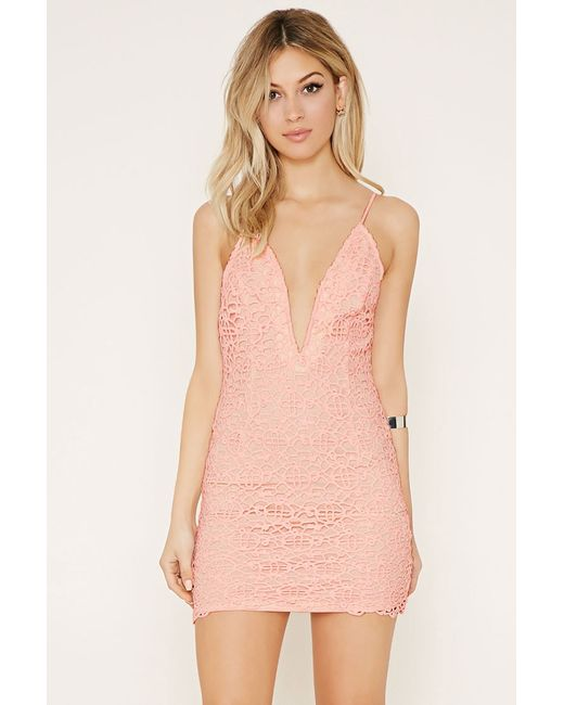 Forever 21 Crochet Bodycon Dress in Pink (Pink/nude ... - photo #22