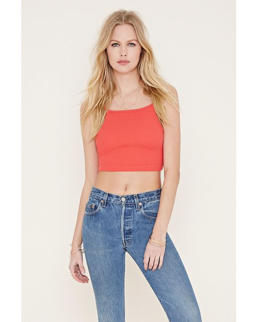 Forever 21   Orange Cotton-blend Cropped Cami   Lyst
