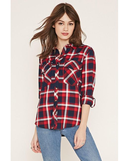 Forever 21 | Black Button-tab Check Shirt | Lyst