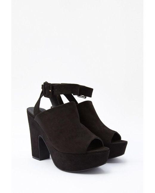Forever 21 | Black Faux Suede Platform Sandals | Lyst
