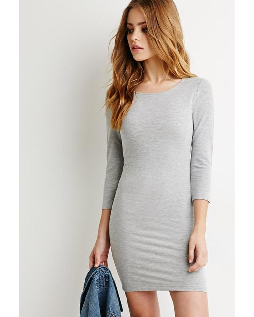 Forever 21 | Gray Classic Midi Dress | Lyst