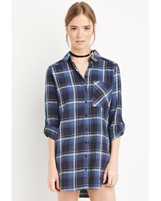 Forever 21 | Blue Plaid Flannel Shirt Dress | Lyst