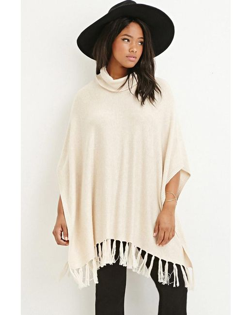 Forever 21 | Natural Tasseled Funnel Neck Poncho | Lyst