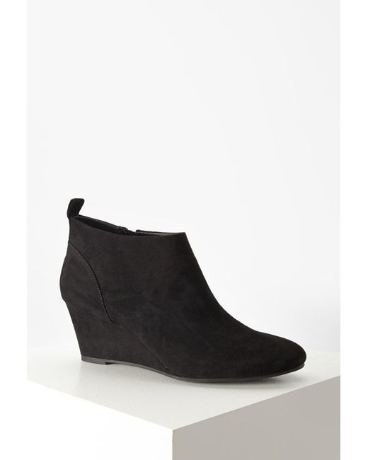 Forever 21 | Black Faux Suede Wedge Booties | Lyst