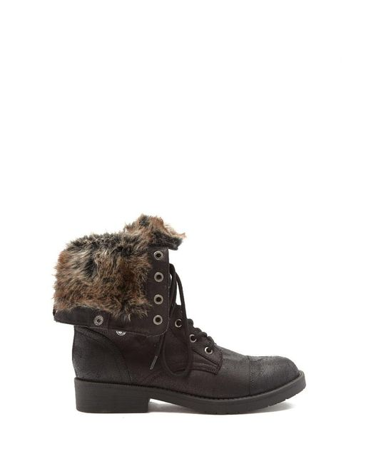 Forever 21 | Black Faux Fur-lined Combat Boots | Lyst