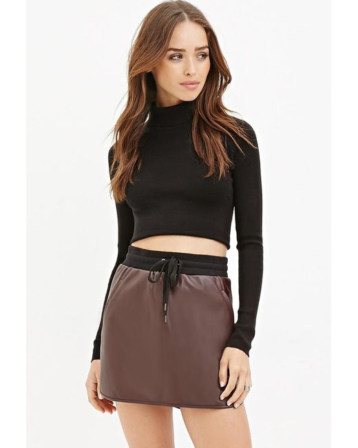 Forever 21 | Purple Faux Leather Drawstring Skirt | Lyst