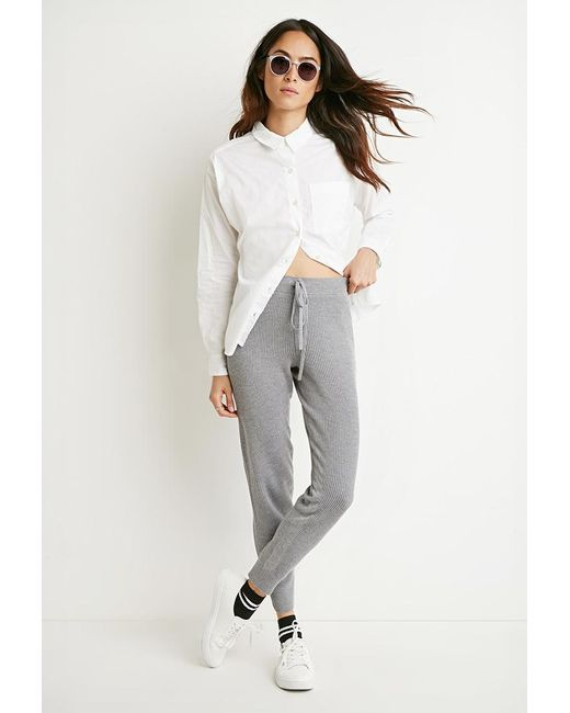 Forever 21 | Gray Ribbed Knit Pants | Lyst
