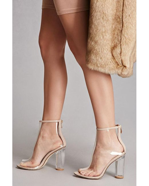 Forever 21 Clear Lucite Heel Ankle Boots In Multicolor Lyst