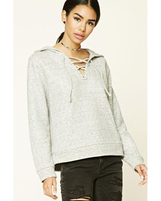Forever 21   Gray Heathered Lace-up Hoodie   Lyst
