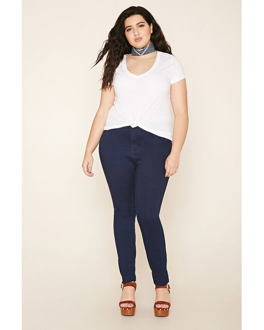 Forever 21 | Blue Plus Size Skinny Jeans (short) | Lyst